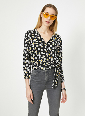 Koton V Yaka Uzun Kollu Çiçek Desenli Bluz